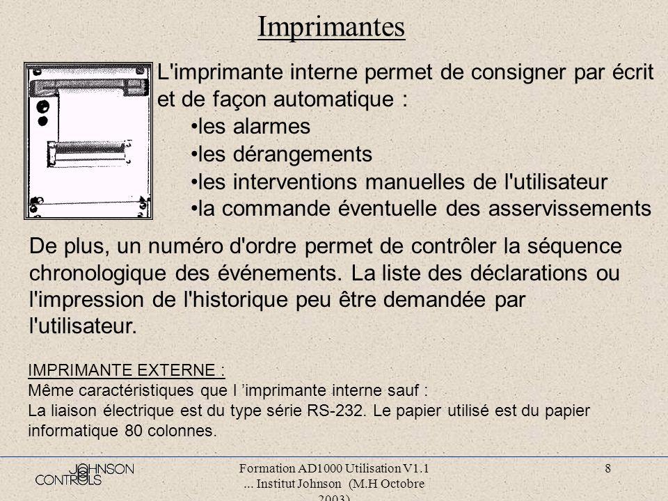 Formation AD1000 Utilisation V1.1... Institut Johnson (M.H Octobre 2003) 7 Claviers La touche F est utilisée comme touche de validation, pour indiquer