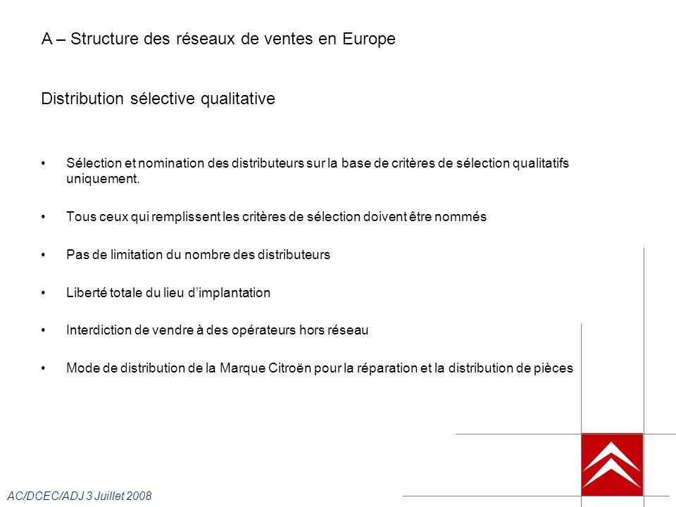AC/DCEC/ADJ 3 Juillet 2008 Primes de performance commerciale : Fonction du taux de réalisation (livraisons) de lobjectif mensuels, le CE VN peut espérer percevoir des primes de la filiale dimportation.