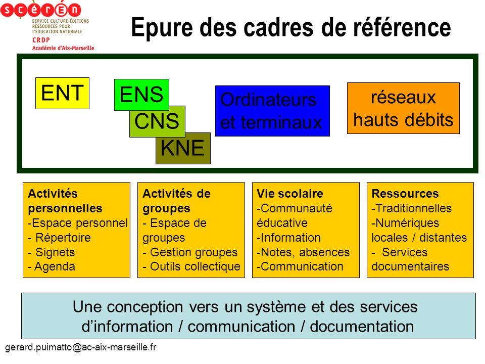 gerard.puimatto@ac-aix-marseille.fr Epure des cadres de référence KNE ENT CNS ENS Ordinateurs et terminaux réseaux hauts débits Activités personnelles