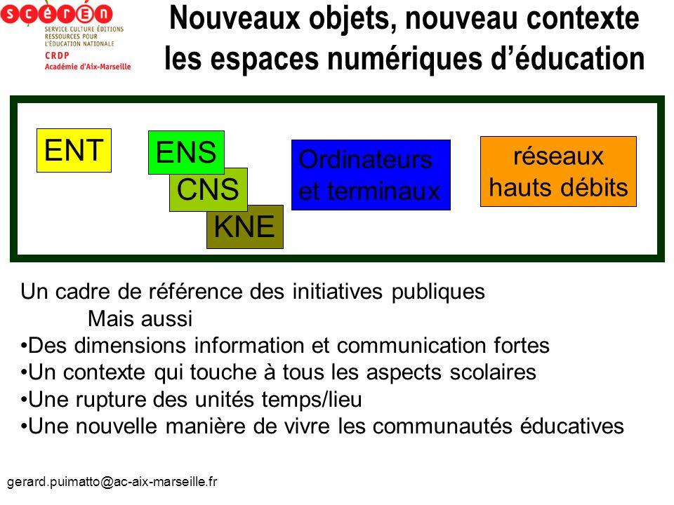 gerard.puimatto@ac-aix-marseille.fr KNE Nouveaux objets, nouveau contexte les espaces numériques déducation ENT CNS ENS Ordinateurs et terminaux résea