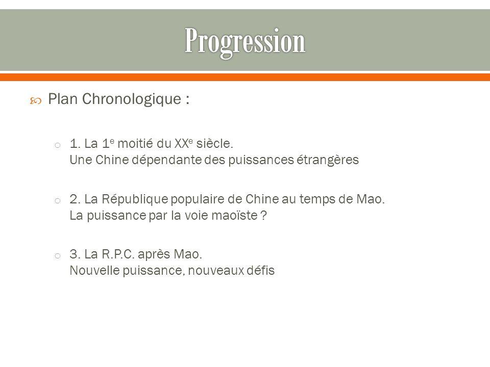 Plan Chronologique : o 1.La 1 e moitié du XX e siècle.