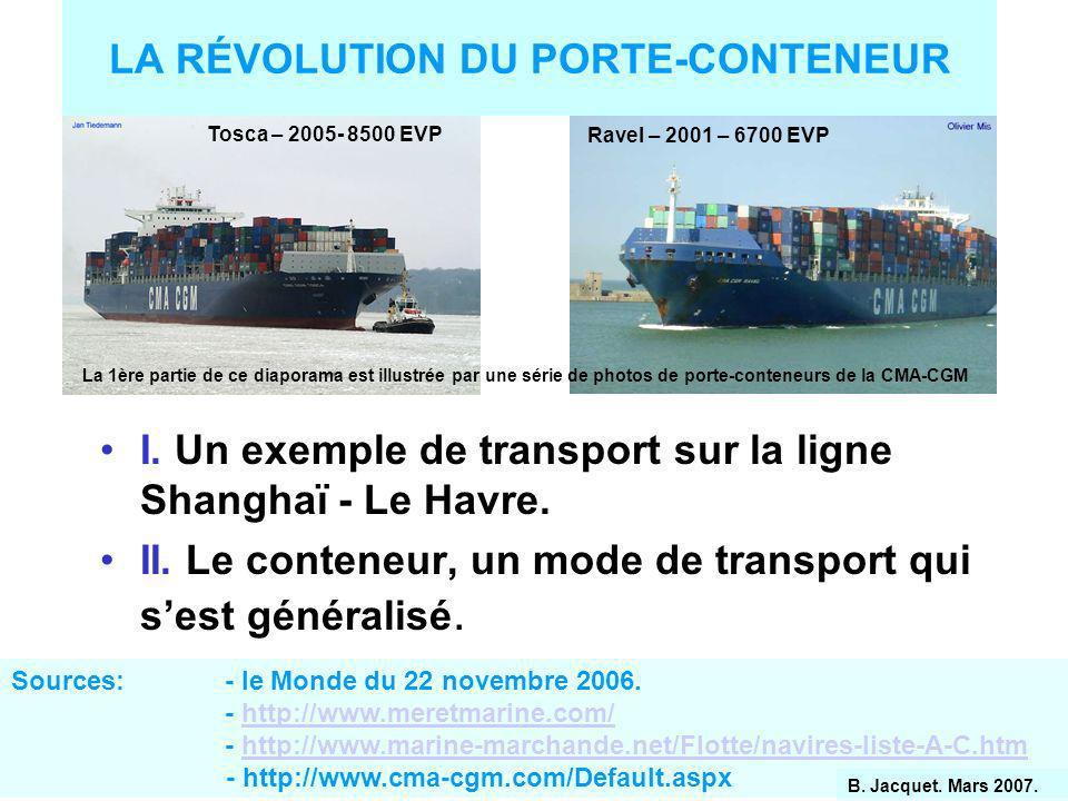 LA RÉVOLUTION DU PORTE-CONTENEUR I.Un exemple de transport sur la ligne Shanghaï - Le Havre.