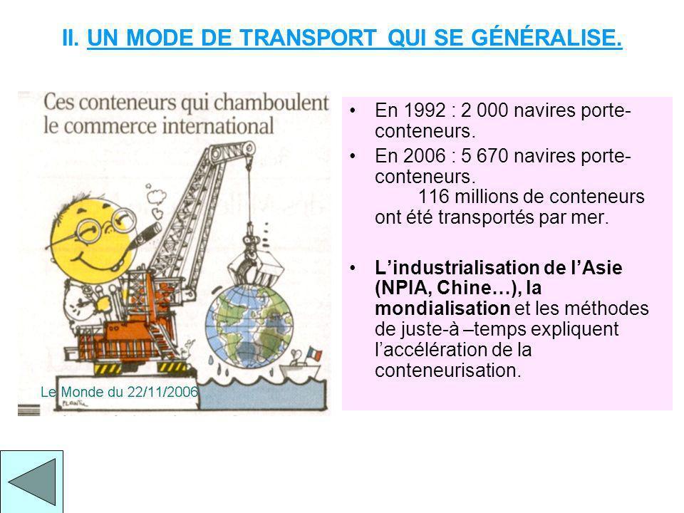 II.UN MODE DE TRANSPORT QUI SE GÉNÉRALISE. En 1992 : 2 000 navires porte- conteneurs.