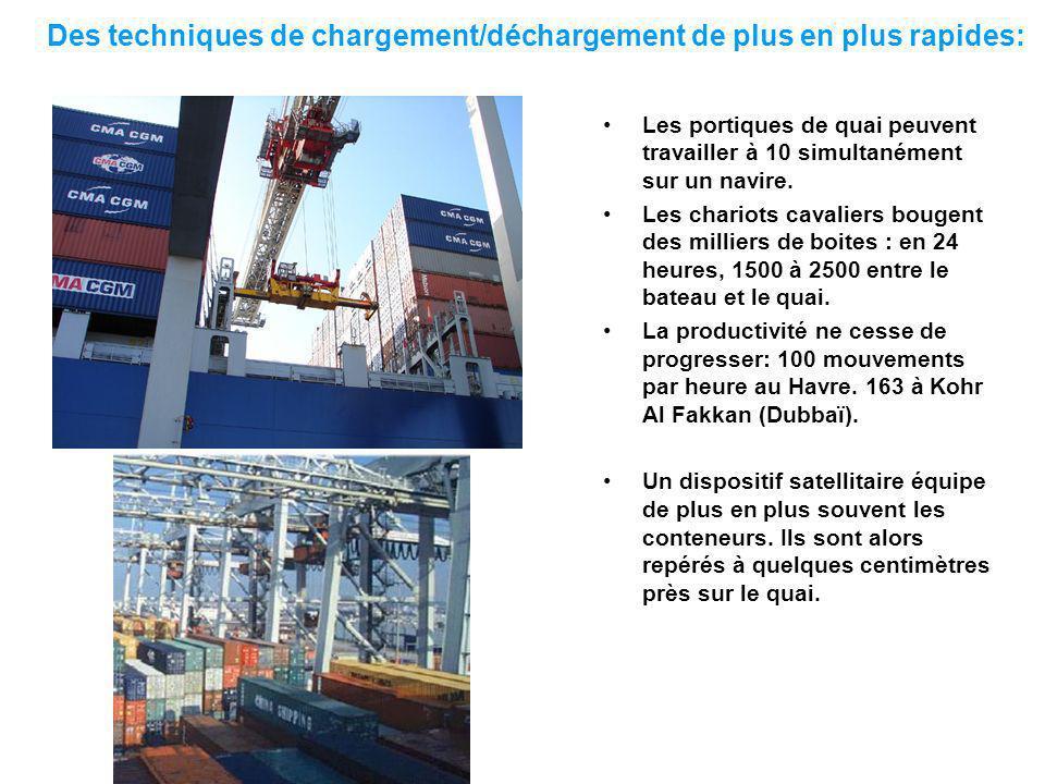 Des techniques de chargement/déchargement de plus en plus rapides: Les portiques de quai peuvent travailler à 10 simultanément sur un navire.
