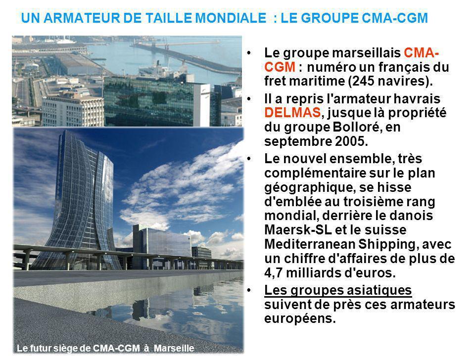 UN ARMATEUR DE TAILLE MONDIALE : LE GROUPE CMA-CGM Le groupe marseillais CMA- CGM : numéro un français du fret maritime (245 navires).