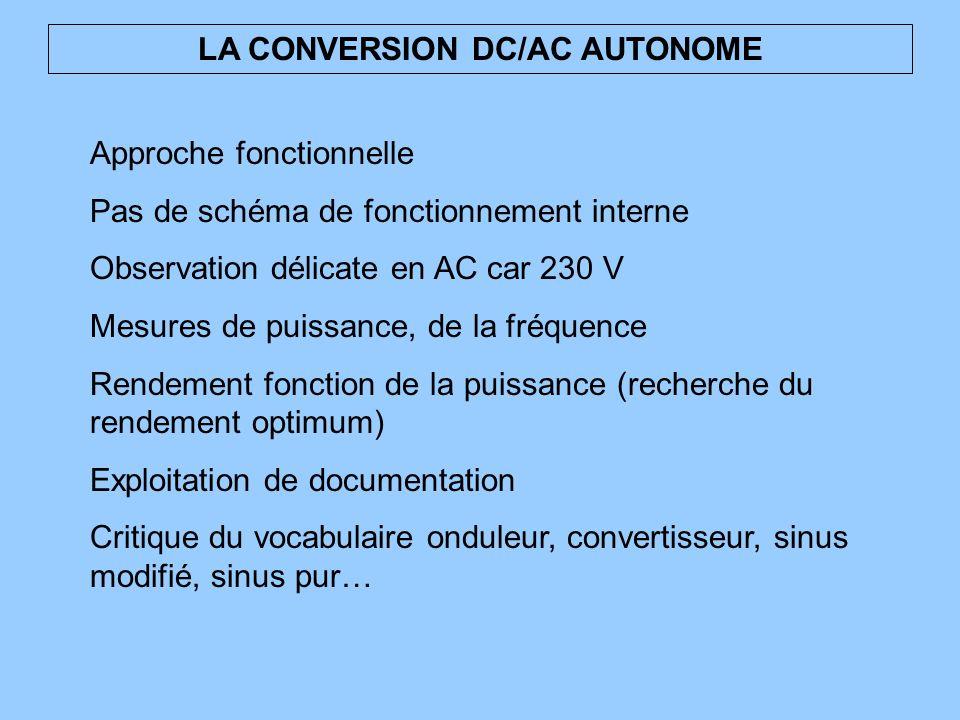LA CONVERSION DC/AC AUTONOME Approche fonctionnelle Pas de schéma de fonctionnement interne Observation délicate en AC car 230 V Mesures de puissance,