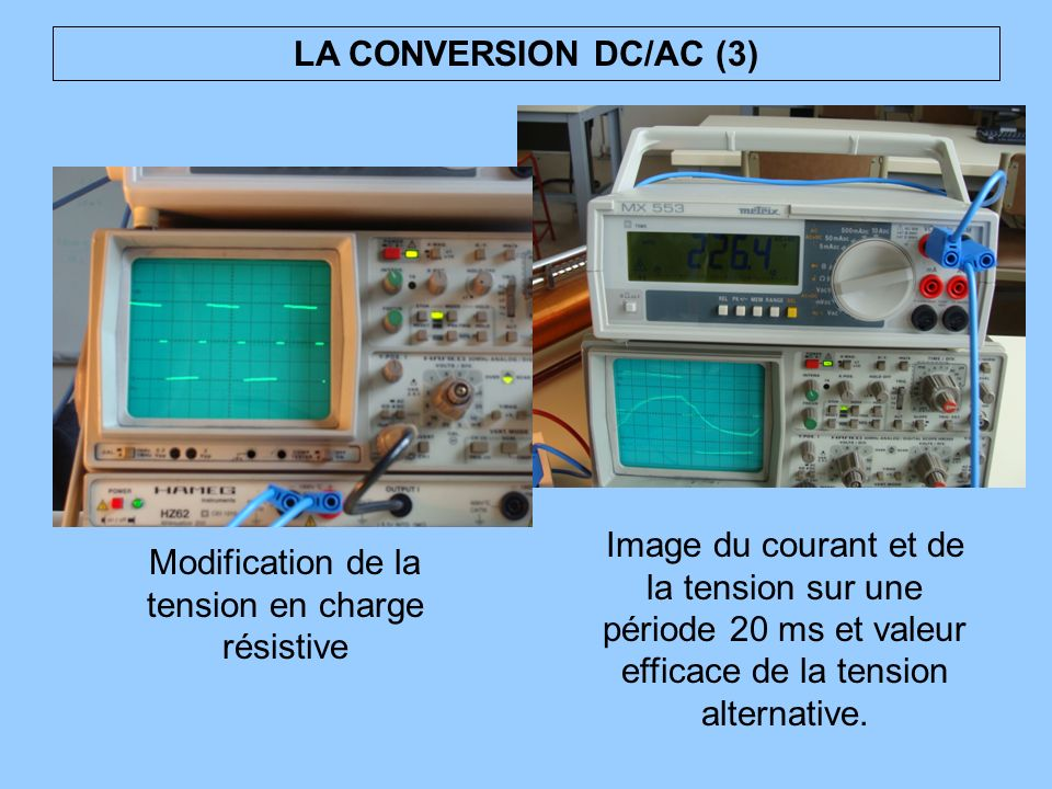 LA CONVERSION DC/AC (4) 15 A : ça chauffe 11 V : tension de la batterie en baisse Mais tension eff plus élevée Intensité eff plus faible Charge résistive Coté AC Coté DC