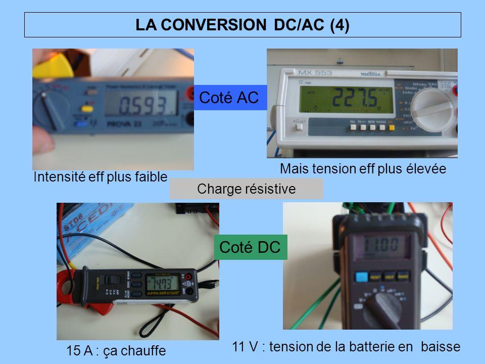 LA CONVERSION DC/AC (4) 15 A : ça chauffe 11 V : tension de la batterie en baisse Mais tension eff plus élevée Intensité eff plus faible Charge résist