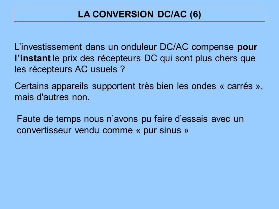 Linvestissement dans un onduleur DC/AC compense pour linstant le prix des récepteurs DC qui sont plus chers que les récepteurs AC usuels ? Certains ap