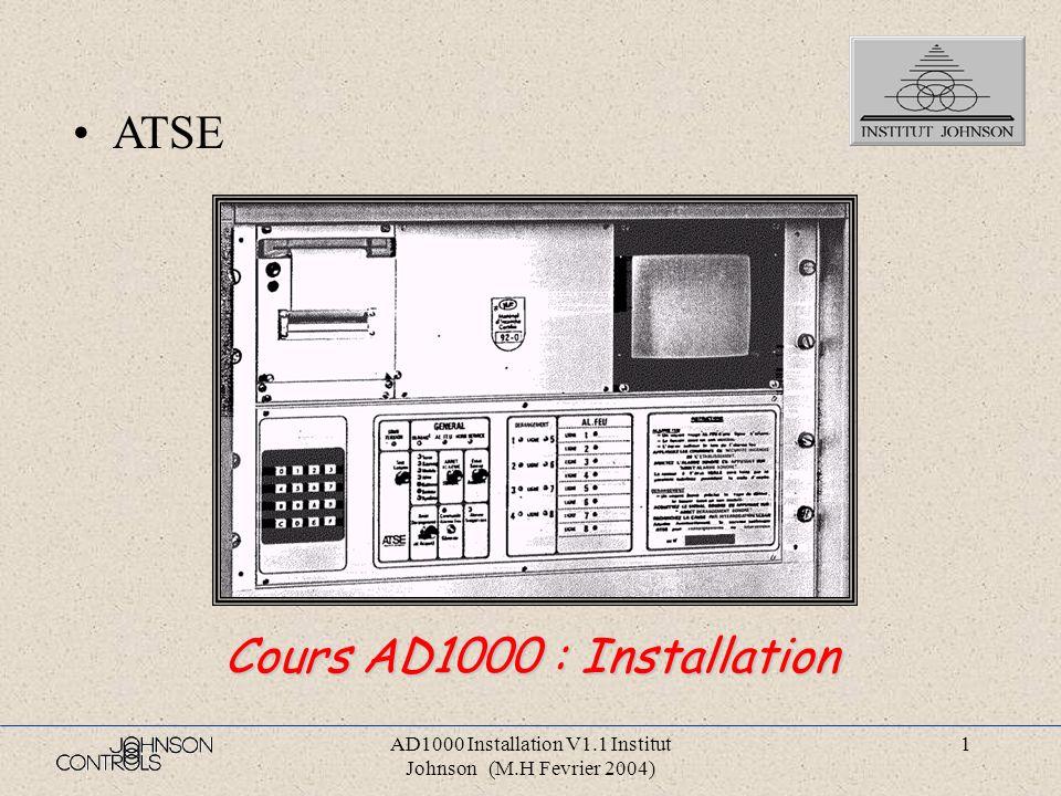 AD1000 Installation V1.1 Institut Johnson (M.H Fevrier 2004) 61 Page 23456789 10 11 1213141516171819202122232425262728293031323334353637383940 LibelleSynoptique généralÉléments raccordés sur l AD1000Équipements déportésLocalisation des cartesIntérieur du tableauAlimentations du tableauCarte REDO -1B-Carte ALI CH -21B-Carte DEF -25B-Carte ALG4 -29B-Carte 3S -33B-Carte ALI5 CPU-37B- (ALI 5 IMP-23H-)Carte ZN4 -41B-(Zone1à4) : -45B-(Zone5à8)Carte ALA -49B-Carte ADC -53B-Carte CPU -65B-Carte MEM(RAM) -69B-Liaison RS422 - ImprimanteLiaison RS422 - RS3PCLiaison RS422 - AS100Carte VIDEO -77B-Carte ALI12(VIDEO) -28H-Carte COM -35H-Carte Lignes d entrées - carte bornier 32 entréesCarte Lignes d entrées - Cartes 8 intersCarte bornierCarte Bornier (1)Carte Bornier (2)Carte Bornier (2 New)Carte AMPLI-ÉMISSIONTRAME TR2Éléments raccordés aux lignes de détectionDétecteursPoidsExemple de raccordementRaccordement Ligne de détectionRaccordement socle S2-1000Raccordement D.M.
