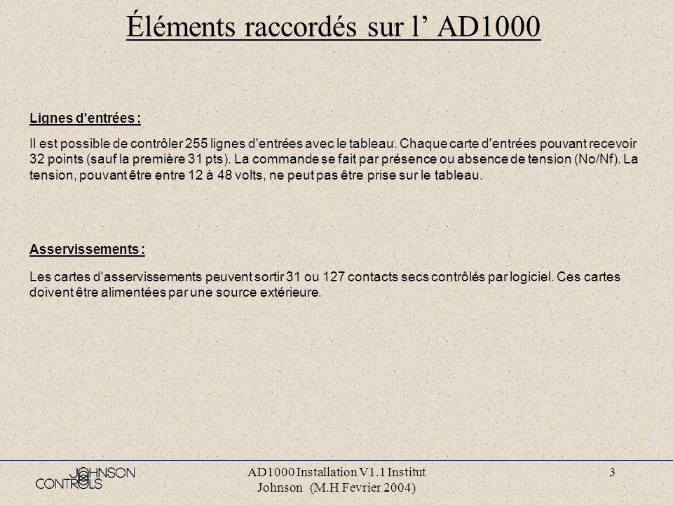 AD1000 Installation V1.1 Institut Johnson (M.H Fevrier 2004) 3 Éléments raccordés sur l AD1000 Lignes d entrées : Il est possible de contrôler 255 lignes d entrées avec le tableau.