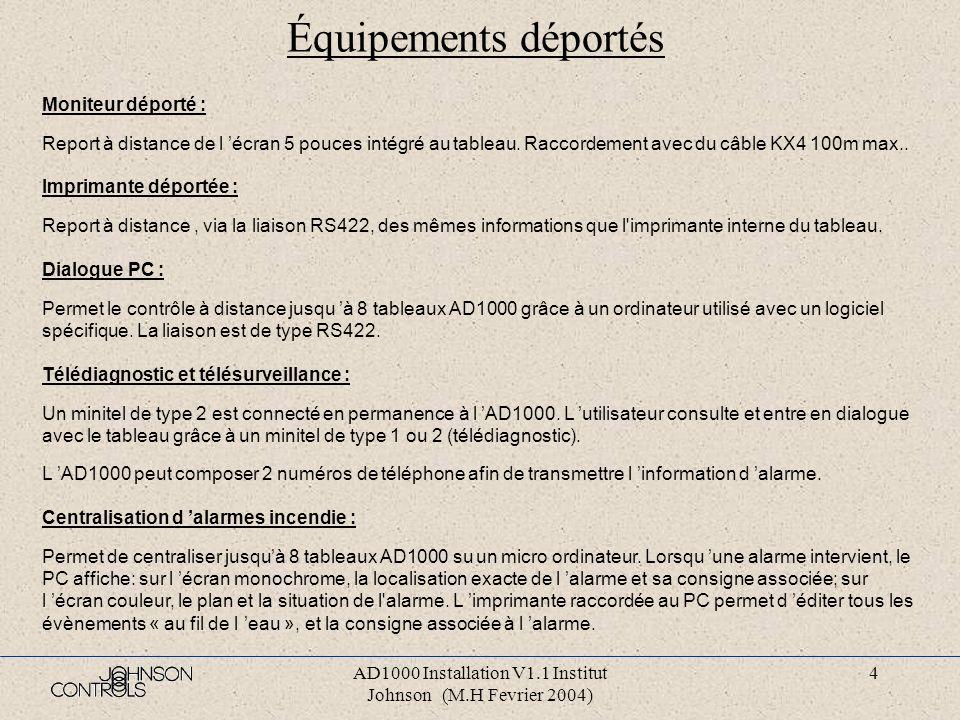 AD1000 Installation V1.1 Institut Johnson (M.H Fevrier 2004) 4 Équipements déportés Moniteur déporté : Report à distance de l écran 5 pouces intégré au tableau.