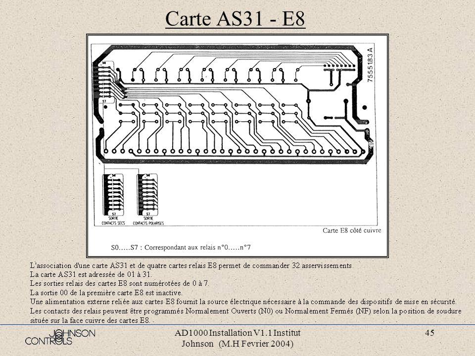 AD1000 Installation V1.1 Institut Johnson (M.H Fevrier 2004) 44 Carte AS31 - E8