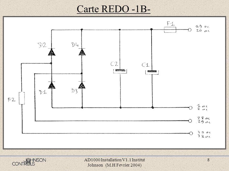 AD1000 Installation V1.1 Institut Johnson (M.H Fevrier 2004) 8 Carte REDO -1B-