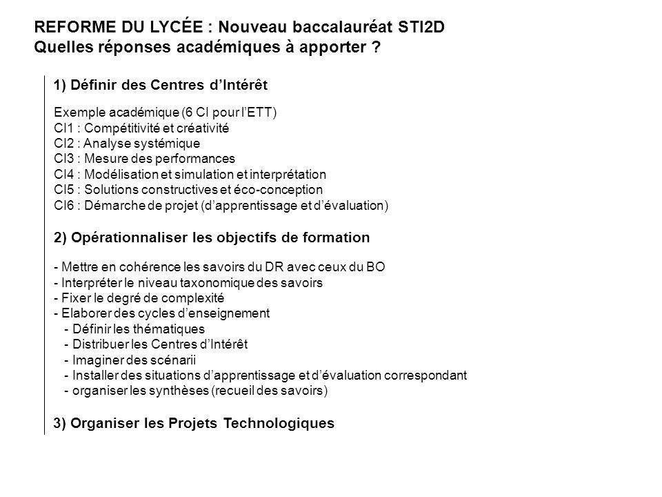 REFORME DU LYCÉE : Nouveau baccalauréat STI2D Quelles réponses académiques à apporter ? 1) Définir des Centres dIntérêt 2) Opérationnaliser les object