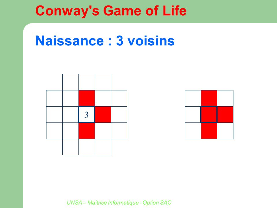 UNSA – Maîtrise Informatique - Option SAC Conway's Game of Life Naissance : 3 voisins 3