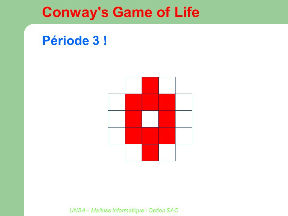UNSA – Maîtrise Informatique - Option SAC Conway's Game of Life Période 3 !