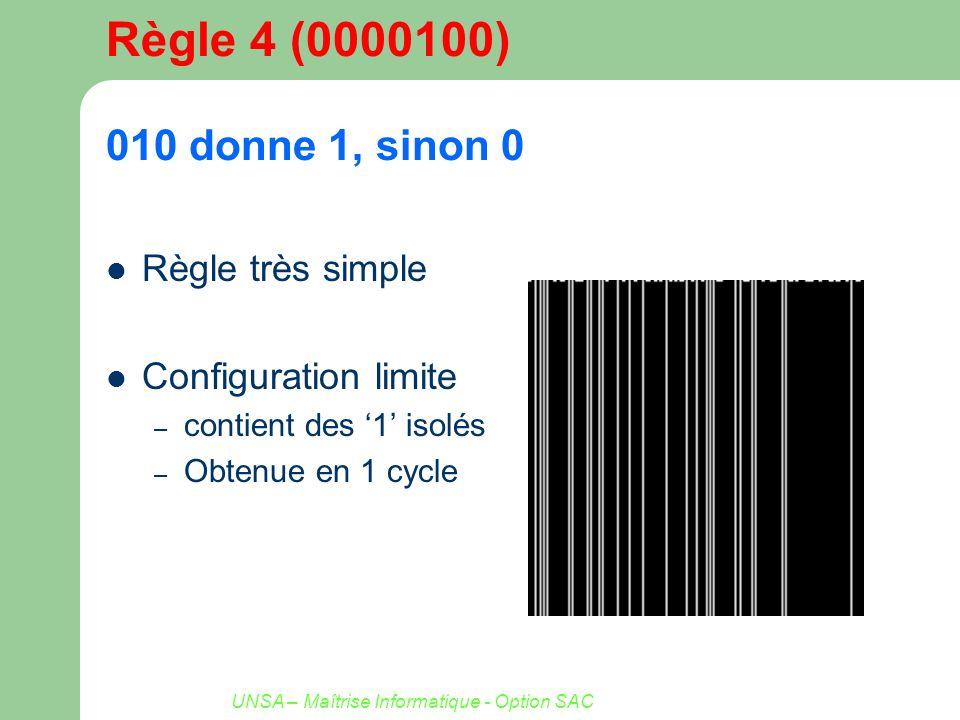 UNSA – Maîtrise Informatique - Option SAC Règle 4 (0000100) 010 donne 1, sinon 0 Règle très simple Configuration limite – contient des 1 isolés – Obte