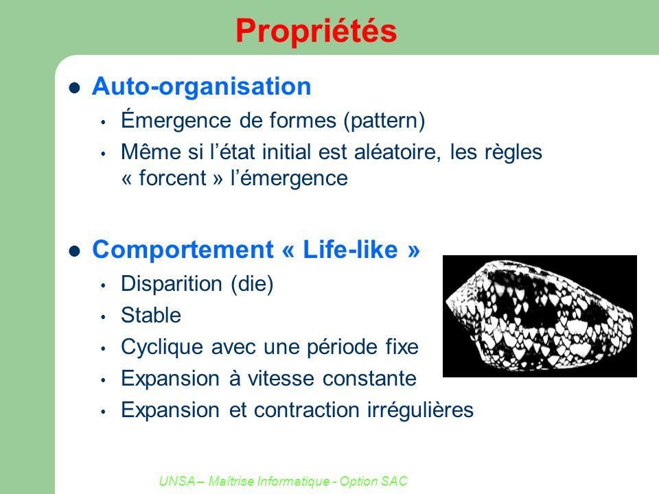 UNSA – Maîtrise Informatique - Option SAC Propriétés Auto-organisation Émergence de formes (pattern) Même si létat initial est aléatoire, les règles «