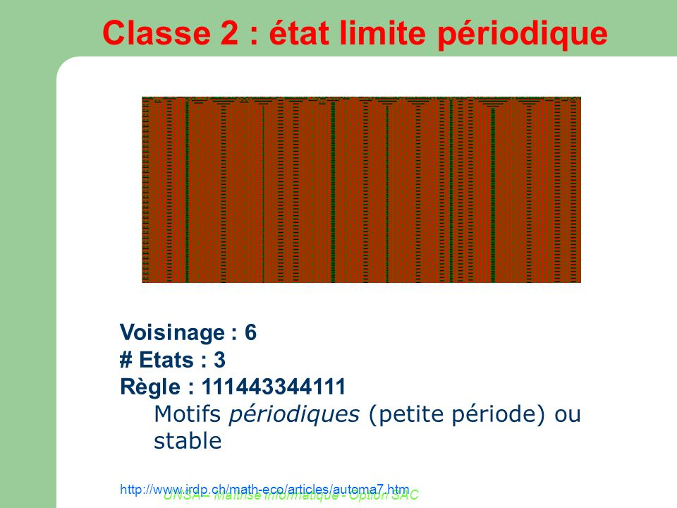 UNSA – Maîtrise Informatique - Option SAC Classe 2 : état limite périodique Voisinage : 6 # Etats : 3 Règle : 111443344111 Motifs périodiques (petite