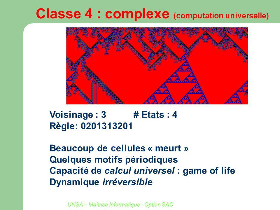 UNSA – Maîtrise Informatique - Option SAC Classe 4 : complexe (computation universelle) Voisinage : 3# Etats : 4 Règle: 0201313201 Beaucoup de cellule