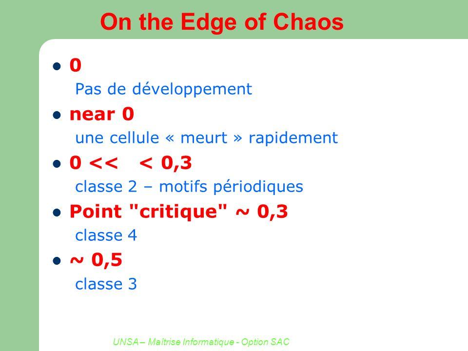 UNSA – Maîtrise Informatique - Option SAC On the Edge of Chaos 0 Pas de développement near 0 une cellule « meurt » rapidement 0 << < 0,3 classe 2 – mo