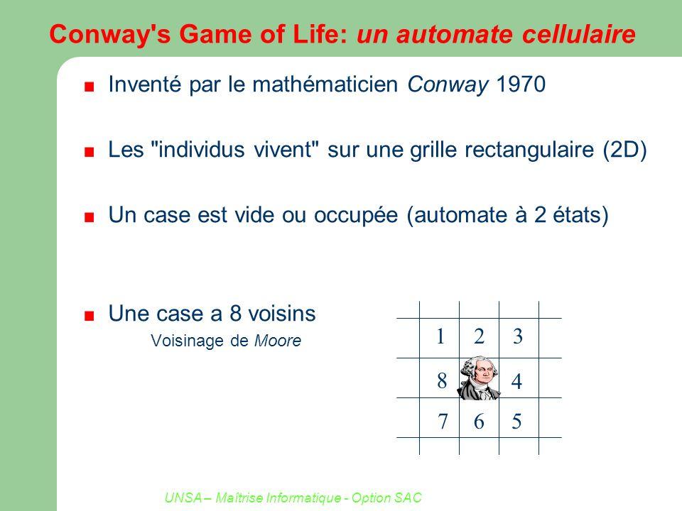 UNSA – Maîtrise Informatique - Option SAC Conway s Game of Life 2 ou 3 voisines pour survivre, 3 pour naître A chaque génération l état de chaque case à la génération suivante est fonction de son état et de celui des 8 cellules qui l entourent n états, v voisins n n^(v+1) = 2 2^(8+1) = 2 512 règles Naissance Si 3 voisins sont vivants, naissance dans un site vide Décès Isolation : moins de 2 voisins vivants (0 ou 1) Sur-population : plus de 3 voisins vivants (4,5,6,7 ou 8)