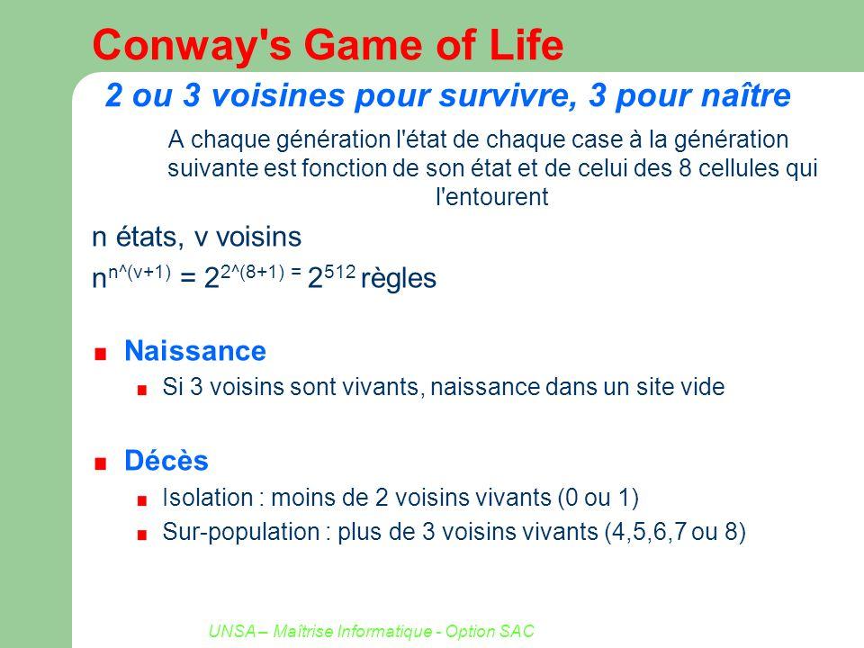 UNSA – Maîtrise Informatique - Option SAC Conway's Game of Life 2 ou 3 voisines pour survivre, 3 pour naître A chaque génération l'état de chaque case