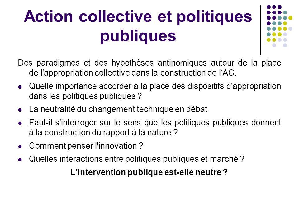 Action collective et politiques publiques Des paradigmes et des hypothèses antinomiques autour de la place de l appropriation collective dans la construction de lAC.