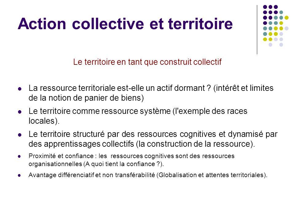 Action collective et territoire Le territoire en tant que construit collectif La ressource territoriale est-elle un actif dormant .