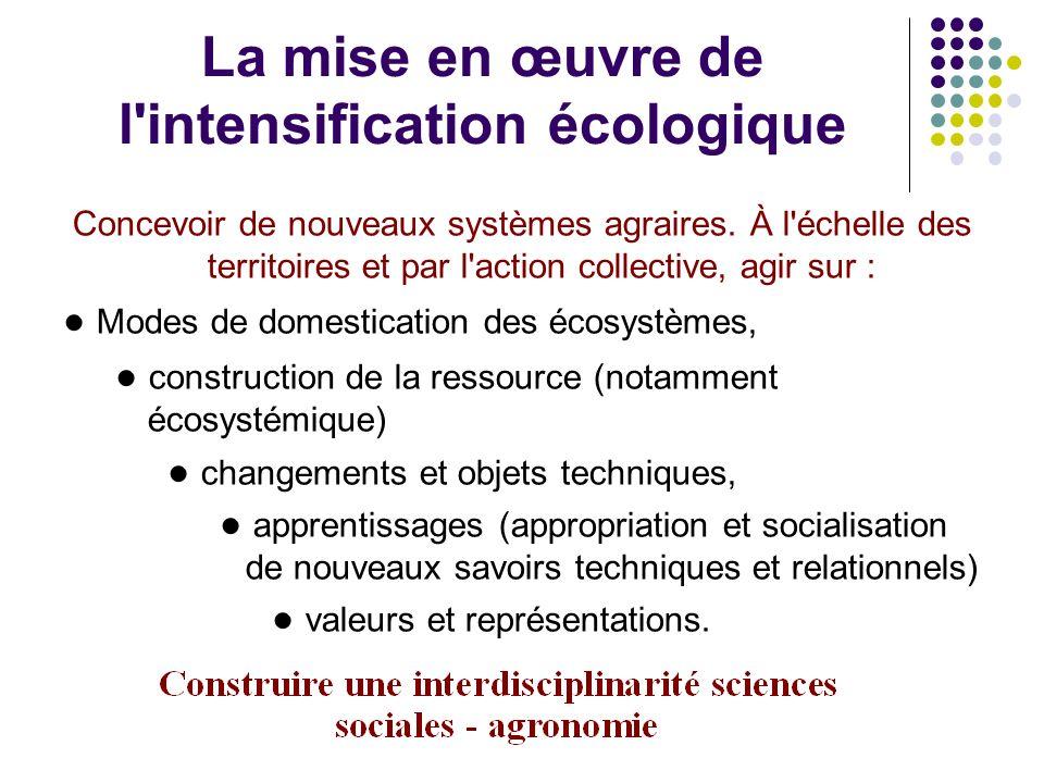 La mise en œuvre de l intensification écologique Concevoir de nouveaux systèmes agraires.