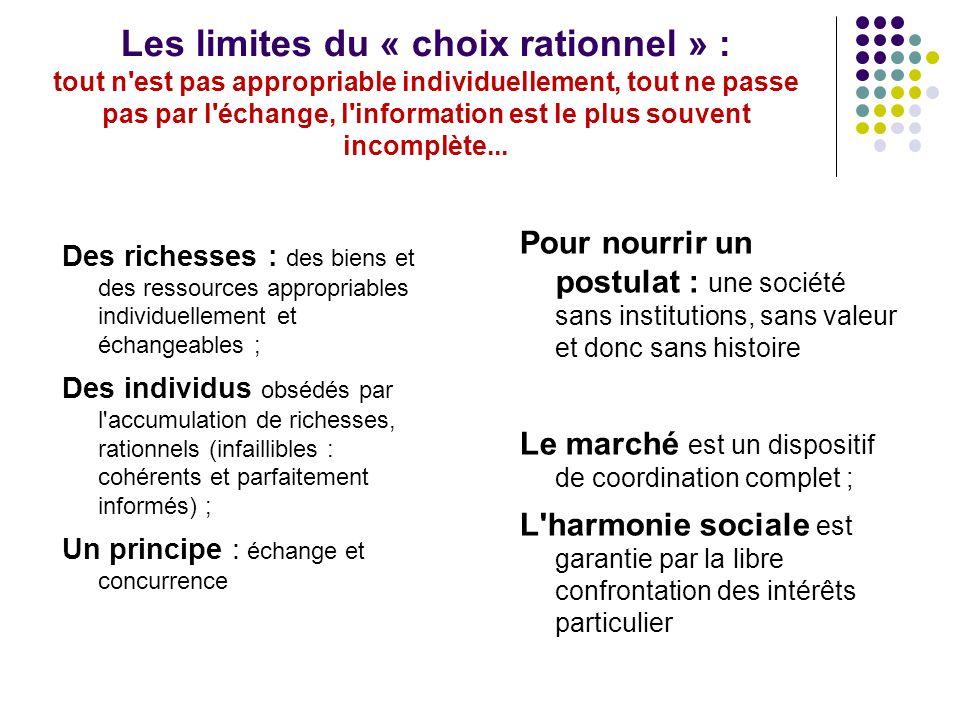 Les limites du « choix rationnel » : tout n est pas appropriable individuellement, tout ne passe pas par l échange, l information est le plus souvent incomplète...