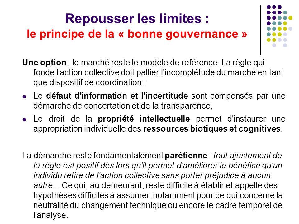 Repousser les limites : le principe de la « bonne gouvernance » Une option : le marché reste le modèle de référence.
