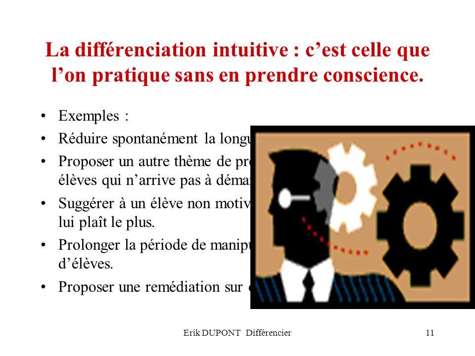 Erik DUPONT Différencier11 La différenciation intuitive : cest celle que lon pratique sans en prendre conscience. Exemples : Réduire spontanément la l