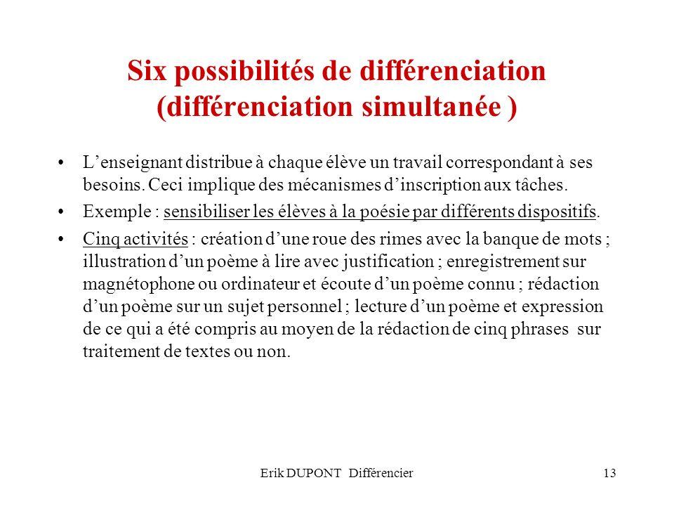 Erik DUPONT Différencier13 Six possibilités de différenciation (différenciation simultanée ) Lenseignant distribue à chaque élève un travail correspon