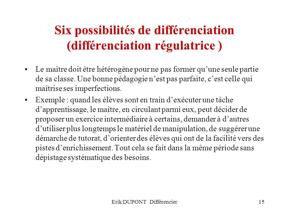 Erik DUPONT Différencier15 Six possibilités de différenciation (différenciation régulatrice ) Le maître doit être hétérogène pour ne pas former quune