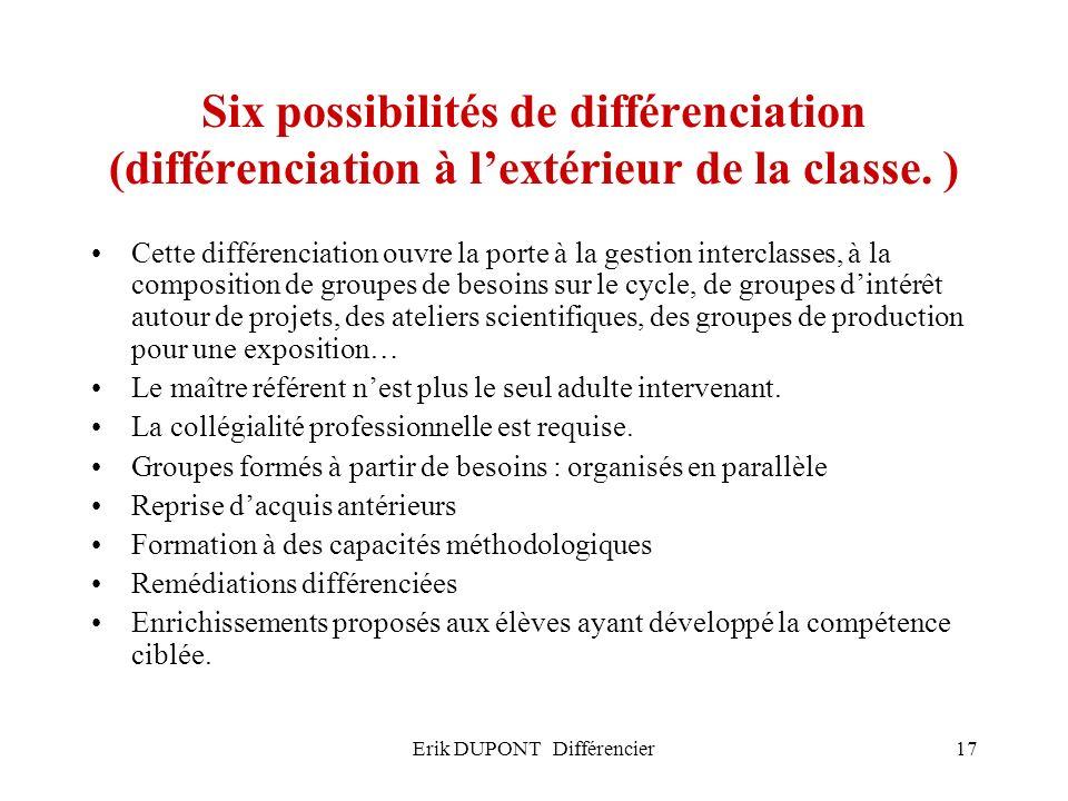 Erik DUPONT Différencier17 Six possibilités de différenciation (différenciation à lextérieur de la classe. ) Cette différenciation ouvre la porte à la