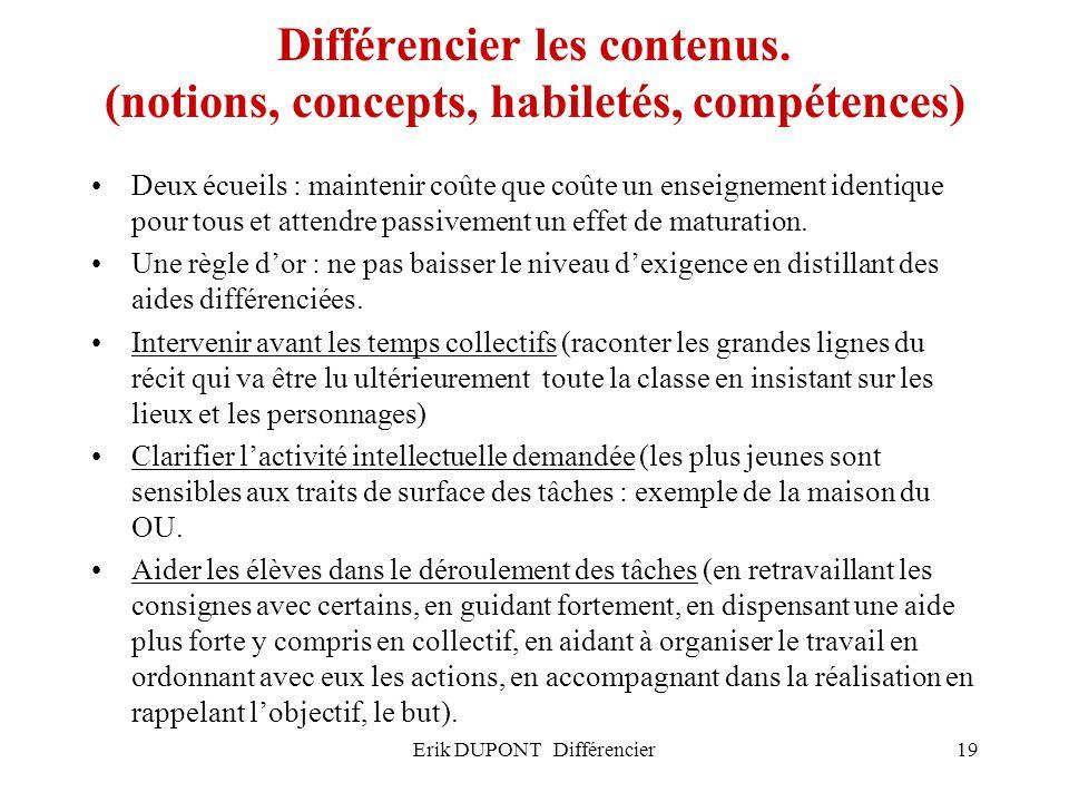 Erik DUPONT Différencier19 Différencier les contenus. (notions, concepts, habiletés, compétences) Deux écueils : maintenir coûte que coûte un enseigne
