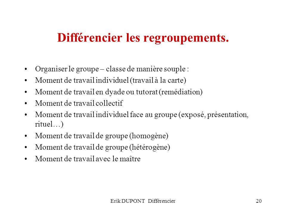 Erik DUPONT Différencier20 Différencier les regroupements. Organiser le groupe – classe de manière souple : Moment de travail individuel (travail à la