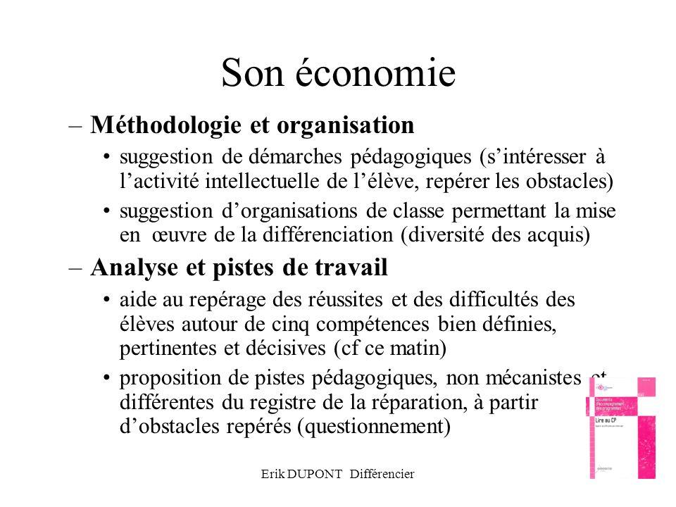 Erik DUPONT Différencier31 Son économie –Méthodologie et organisation suggestion de démarches pédagogiques (sintéresser à lactivité intellectuelle de