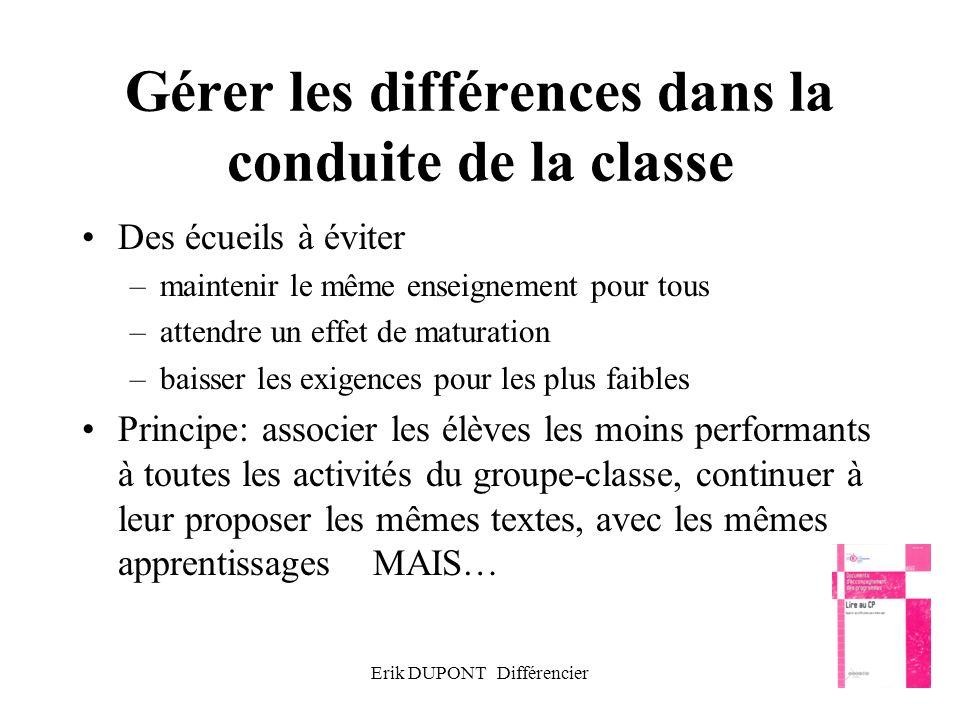 Erik DUPONT Différencier34 Gérer les différences dans la conduite de la classe Des écueils à éviter –maintenir le même enseignement pour tous –attendr
