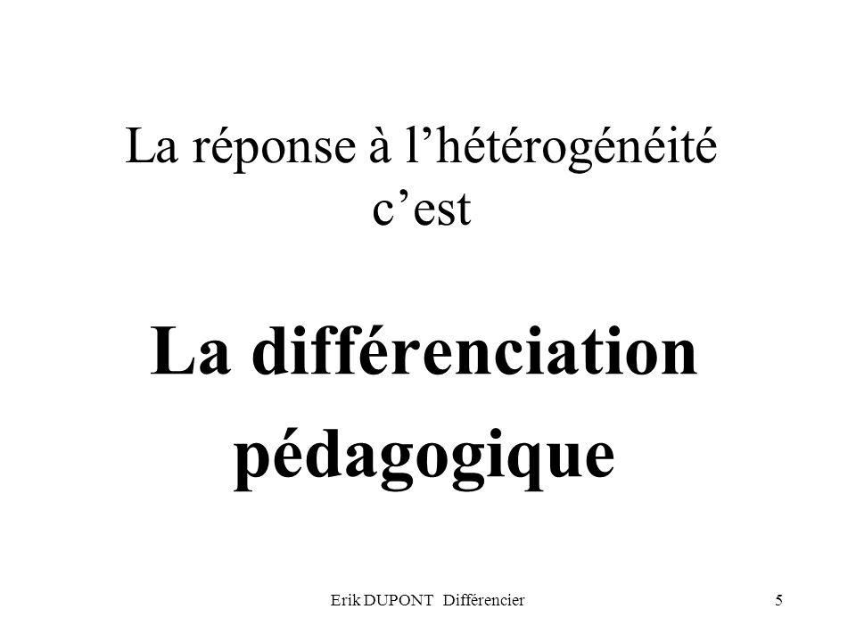 Erik DUPONT Différencier6 La différenciation pédagogique, cest … Individuellement, entourer deux propositions avec lesquelles vous êtes entièrement daccord et deux avec lesquelles vous êtes entièrement en désaccord.