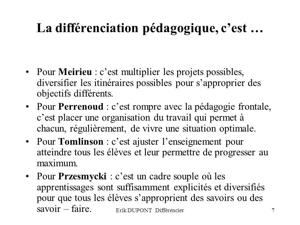 Erik DUPONT Différencier28 Séquence différenciée dapprentissage objectifs dapprentissage DECOUVERTEINTEGRATIONEVALUATIONREMEDIATION Différenciation successive.