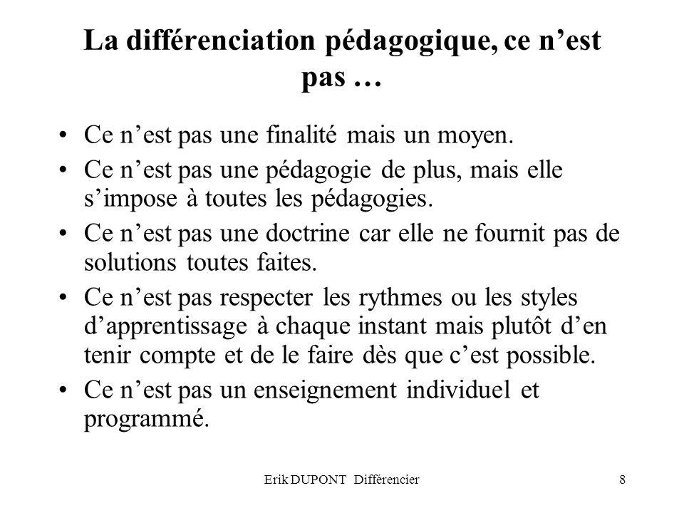 Erik DUPONT Différencier8 La différenciation pédagogique, ce nest pas … Ce nest pas une finalité mais un moyen. Ce nest pas une pédagogie de plus, mai