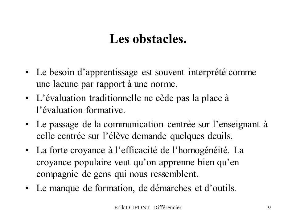 Erik DUPONT Différencier9 Les obstacles. Le besoin dapprentissage est souvent interprété comme une lacune par rapport à une norme. Lévaluation traditi