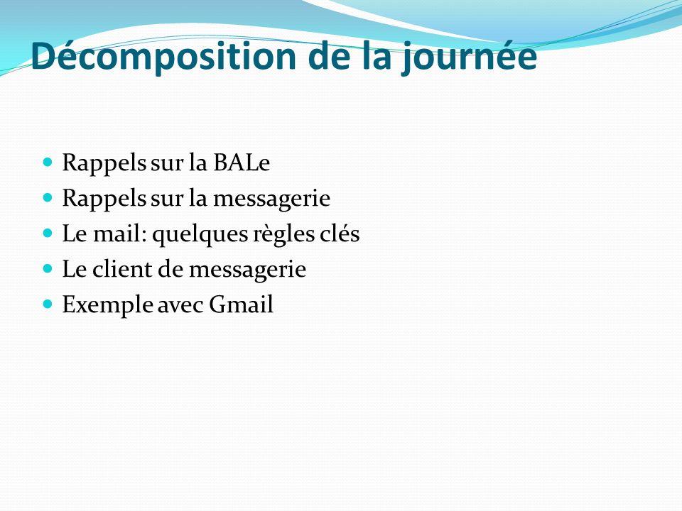 Décomposition de la journée Rappels sur la BALe Rappels sur la messagerie Le mail: quelques règles clés Le client de messagerie Exemple avec Gmail