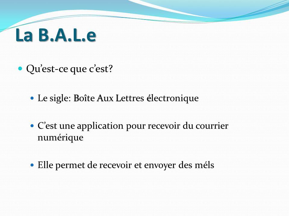 La B.A.L.e Quest-ce que cest? BALé Le sigle: Boîte Aux Lettres électronique Cest une application pour recevoir du courrier numérique Elle permet de re