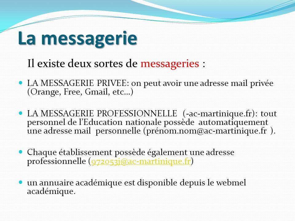 La messagerie LA MESSAGERIE PRIVEE: on peut avoir une adresse mail privée (Orange, Free, Gmail, etc…) LA MESSAGERIE PROFESSIONNELLE (-ac-martinique.fr
