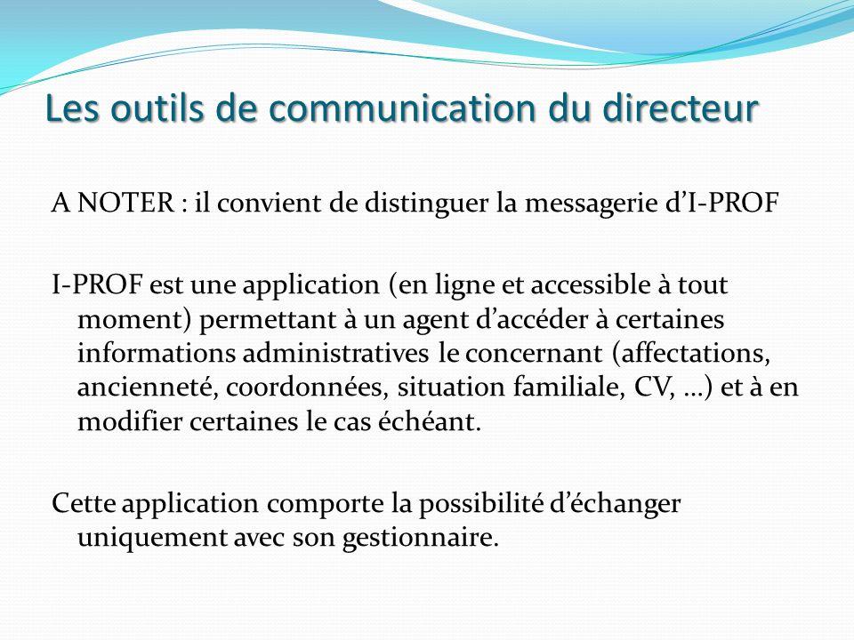 Les outils de communication du directeur A NOTER : il convient de distinguer la messagerie dI-PROF I-PROF est une application (en ligne et accessible