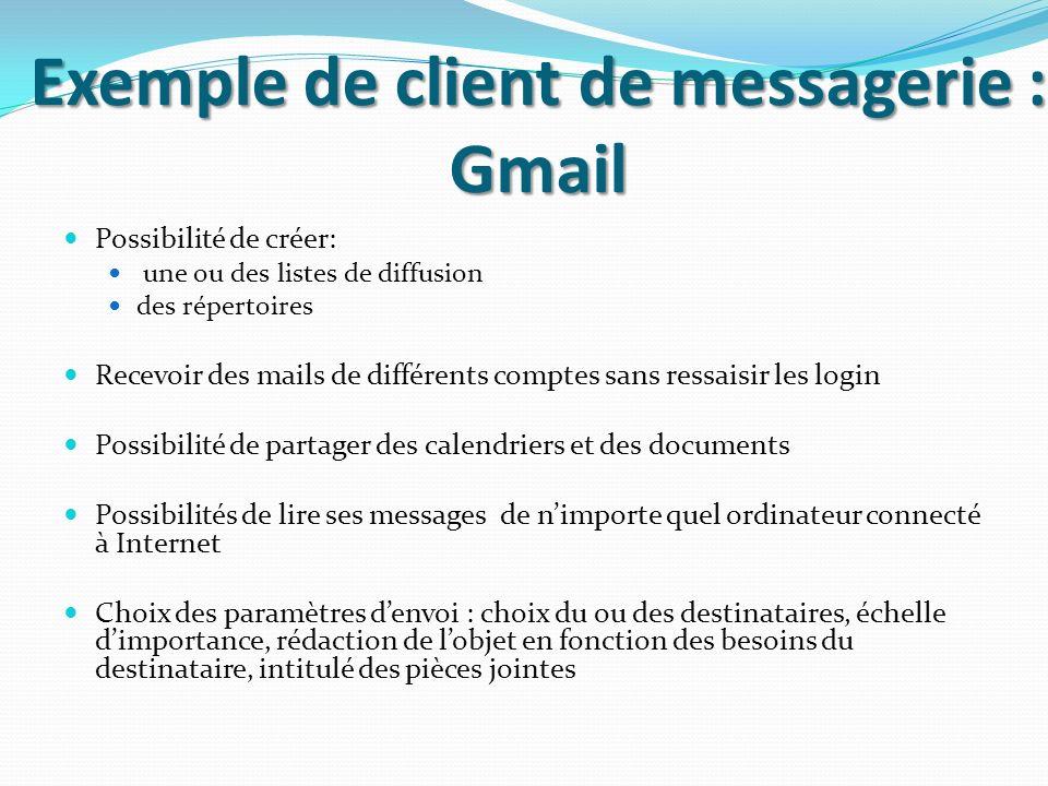Exemple de client de messagerie : Gmail Possibilité de créer: une ou des listes de diffusion des répertoires Recevoir des mails de différents comptes